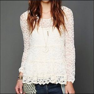 Free People | Long Sleeve Lace sheer Top Small